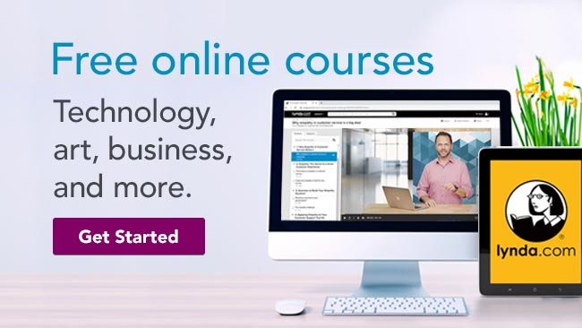 Lynda.com | Free online courses in tech, art, business, & more | Get Started