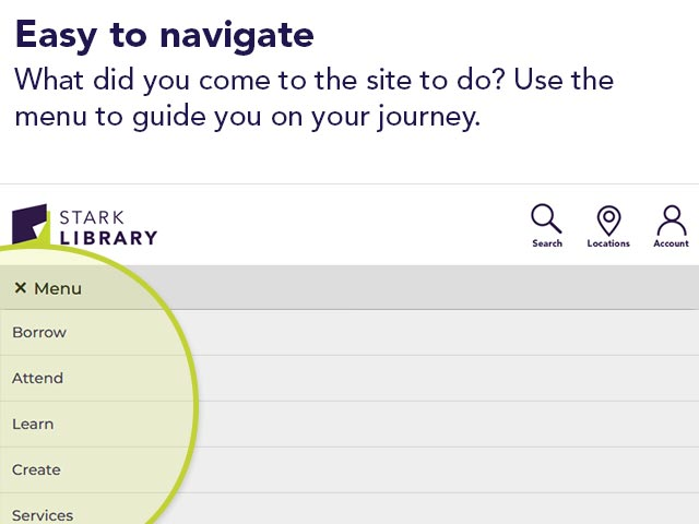 Easy to navigate | What did you come to the site to do? Use the menu to guide you on your journey.